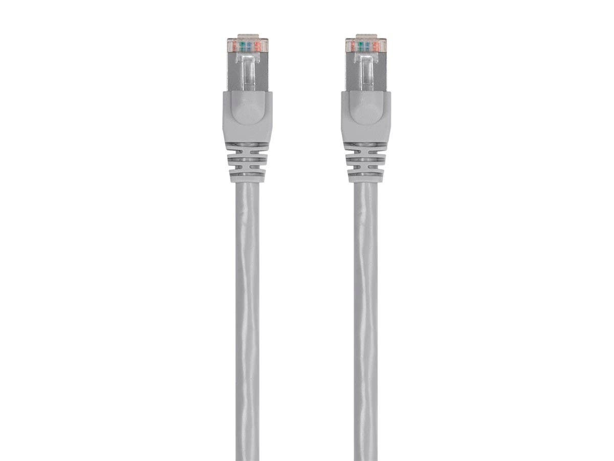 Monoprice Cat6 Ethernet Patch Cable - Snagless RJ45, Stranded, 550MHz, STP, Pure Bare Copper Wire, 24AWG, 7ft, Gray - main image
