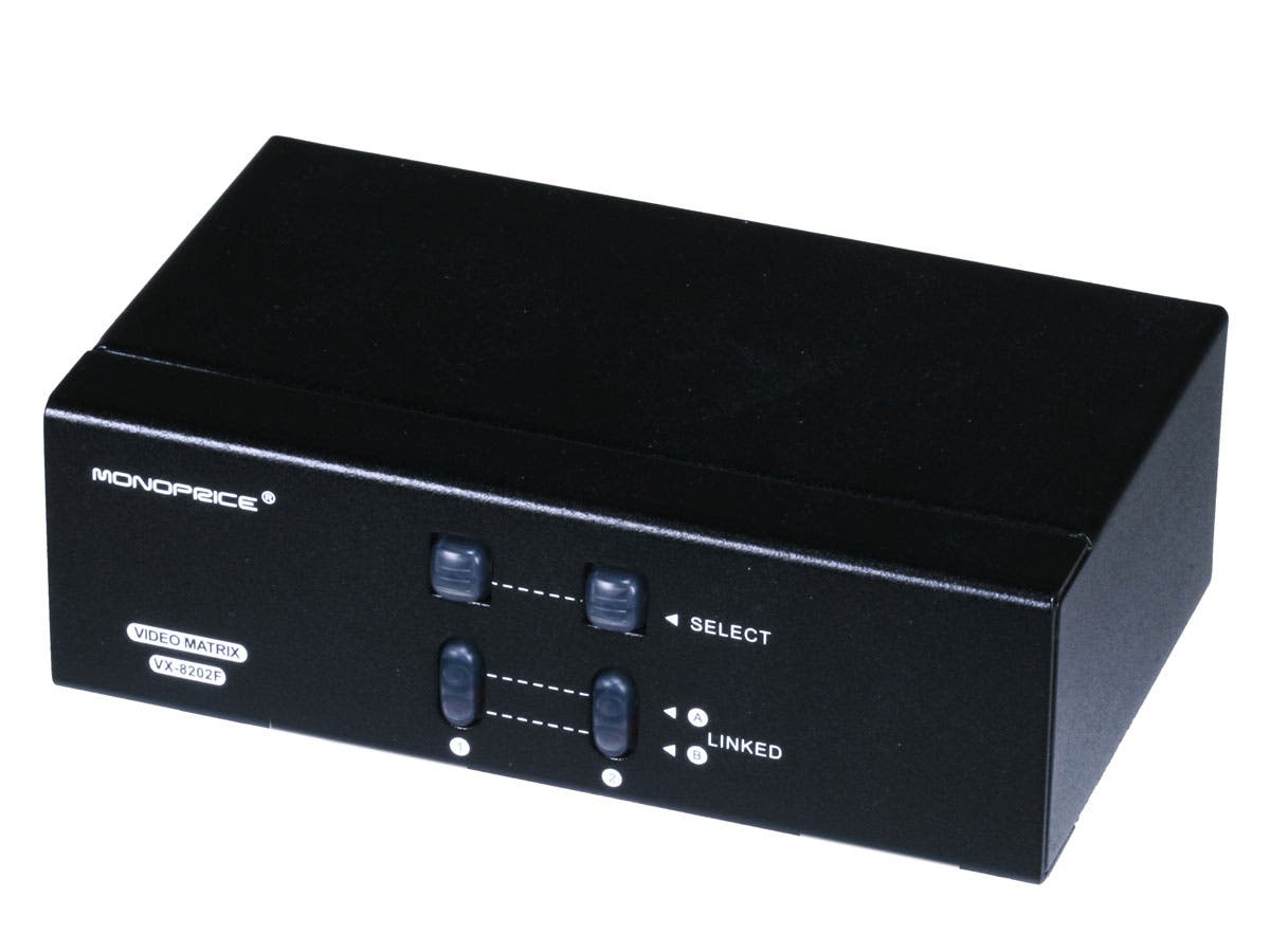 Monoprice 2x2 SVGA VGA MATRIX Switcher Splitter Amplifier Multiplier 250MHz-Large-Image-1