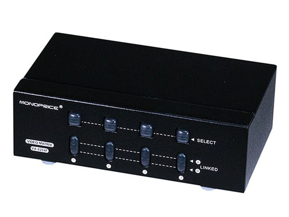 Monoprice 2x4 SVGA VGA MATRIX Switcher Splitter Amplifier Multiplier 250MHz-Large-Image-1