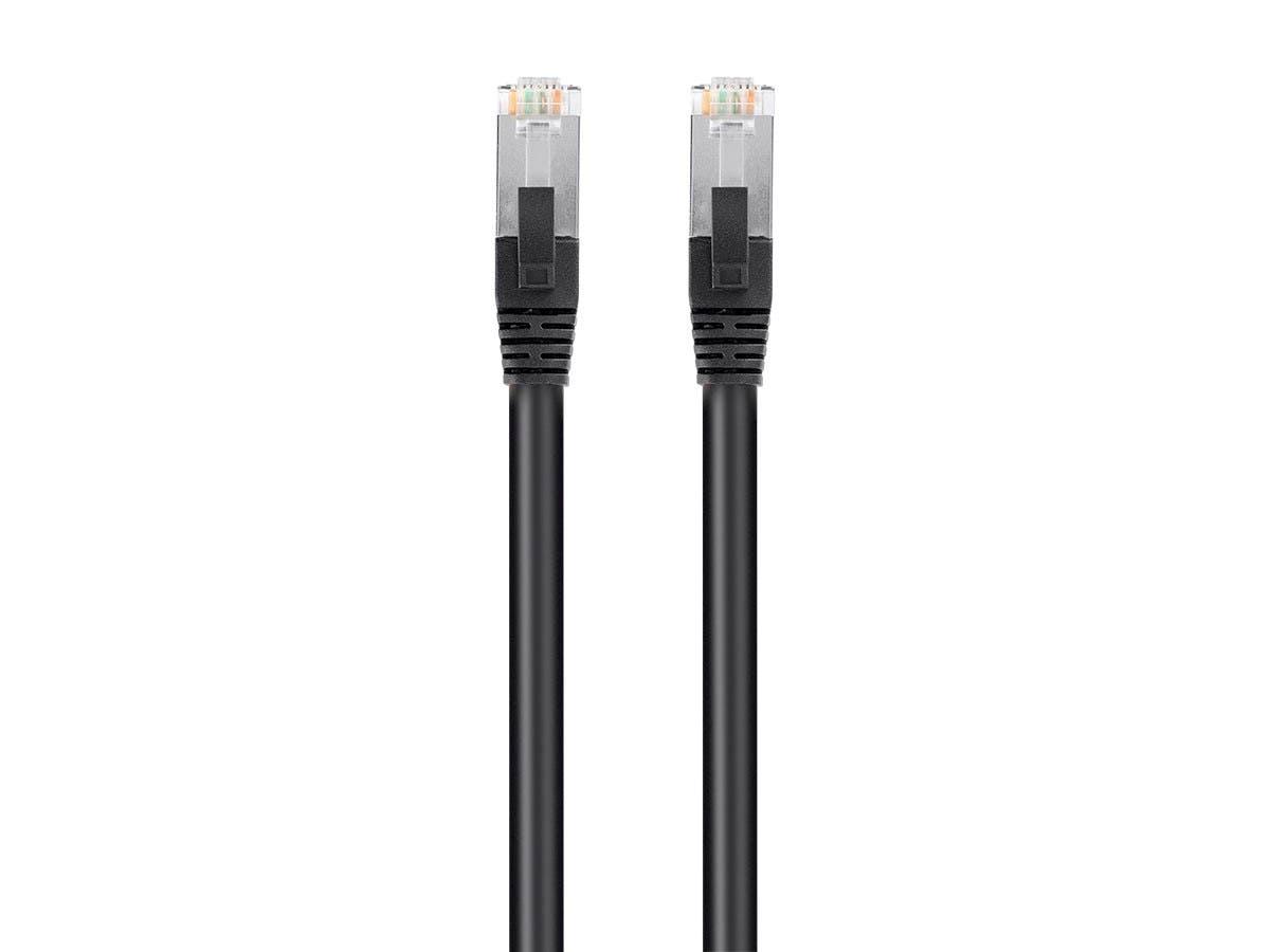 Monoprice Cat6 PoE Ethernet Patch Cable - 600V, Shielded RJ45, Solid, 550MHz, STP (U/FTP), 24AWG, 1ft, Black - main image