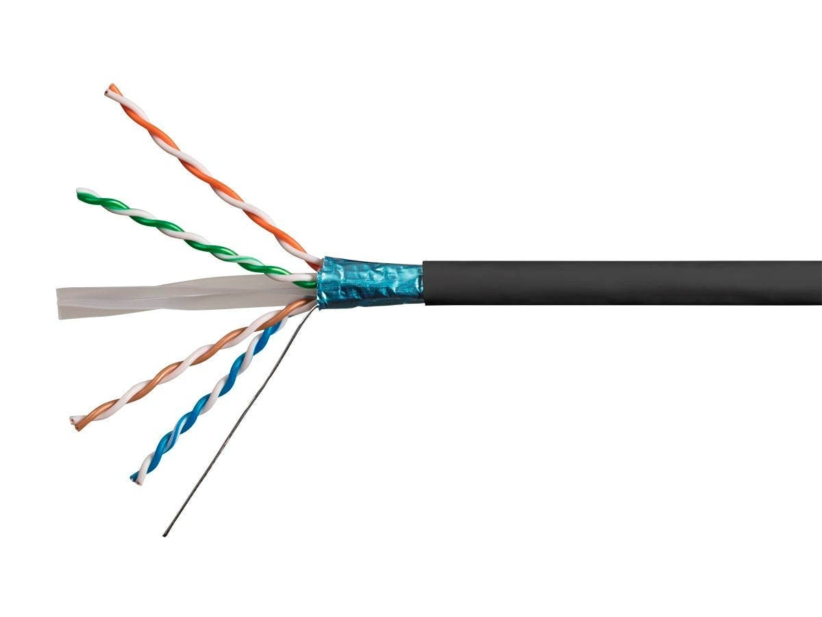 Monoprice Cat6A Ethernet Bulk Cable - Solid, 550MHz, F/UTP, CMR, Riser Rated, Pure Bare Copper Wire, 10G, 23AWG, 500ft, Black (UL) (TAA) - main image