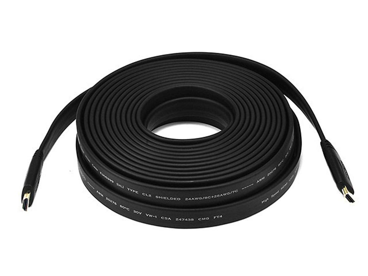 Monoprice 1080i Flat Standard HDMI Cable 35ft - CL2 In Wall Rated 4.95Gbps Black (Commercial Series) - main image