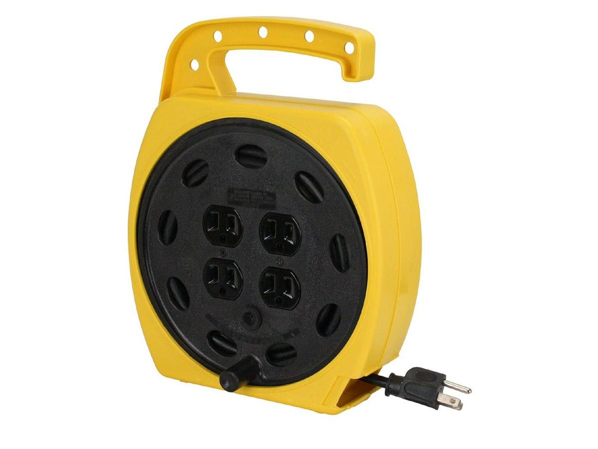 Portable Power Station with 4 Outlets, with 25ft Cord and Retractable Cord Reels, 16AWG, 13A, SJT, Black, 25ft - main image