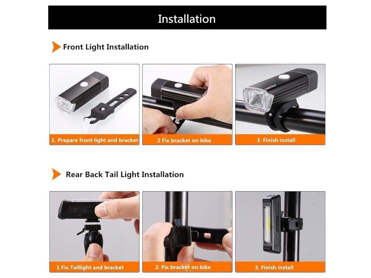 Anti-Glare Bike Light Set USB Rechargeable Front Light Headlight /& Rear Back