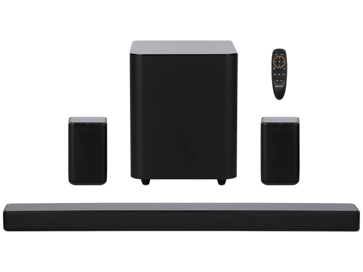 Monoprice SB-500 Dolby Digital 5.1 Soundbar with Wireless Surround Speakers and Wireless Subwoofer, 2 HDMI Inputs, 4K HDR Pass-Through, Optical, Coax, ARC, Remote - main image