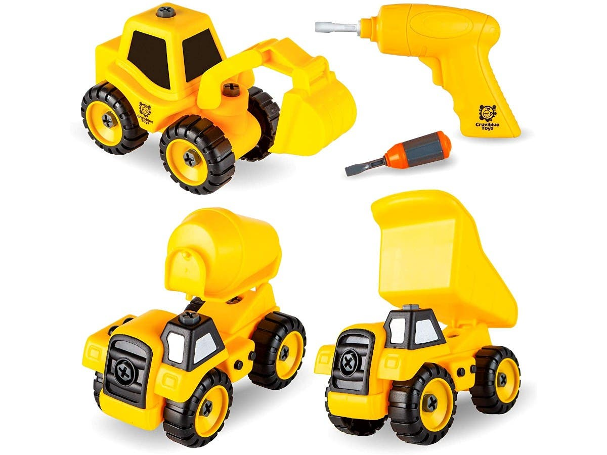 Build Me Set of 3 Take Apart Construction Truck Toys