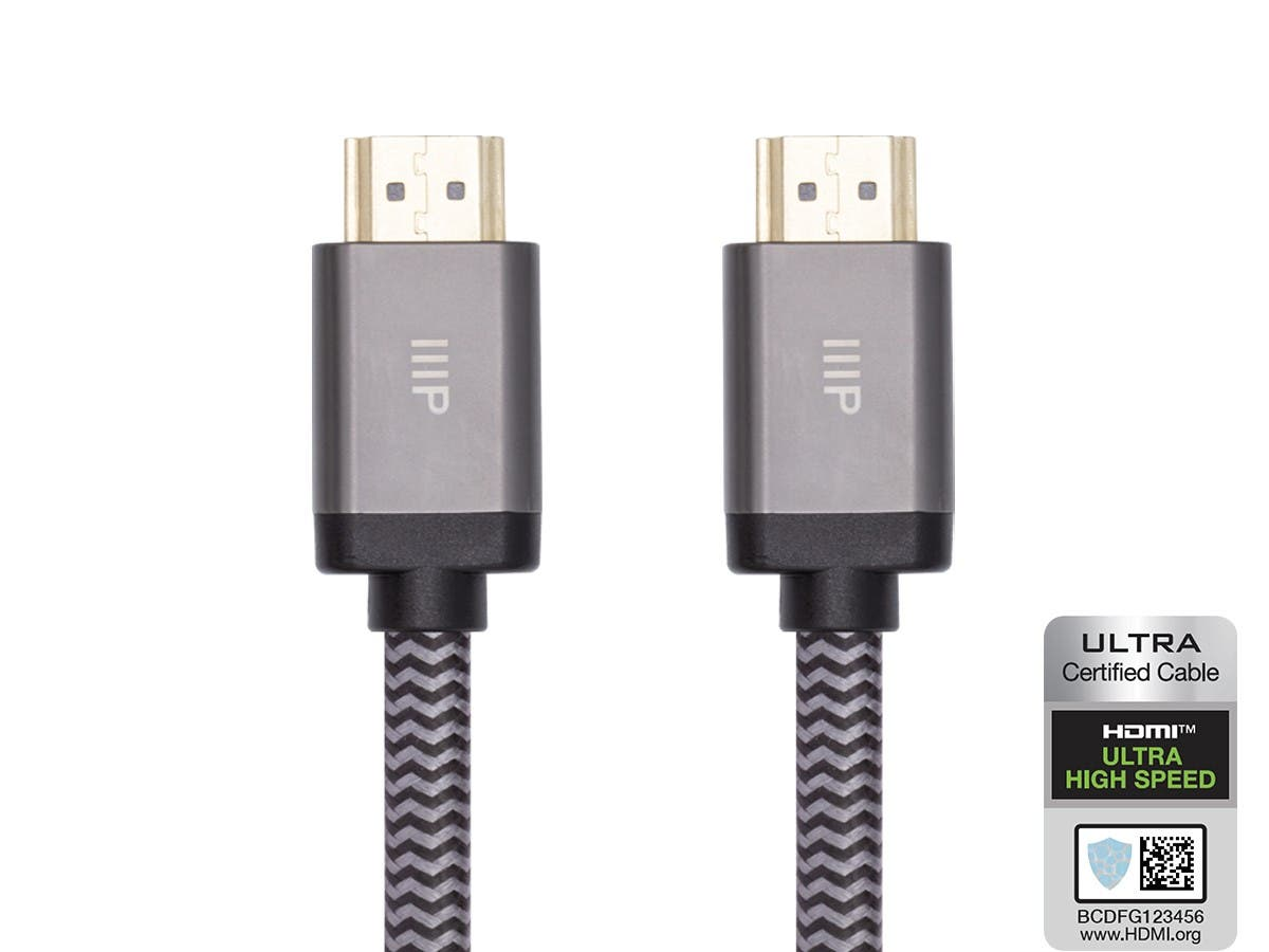 Monoprice 8K Certified Braided Ultra High Speed HDMI Cable - HDMI 2.1, 8K@60Hz, 48Gbps, CL2 In-Wall Rated, 30AWG, 3ft, Black - main image