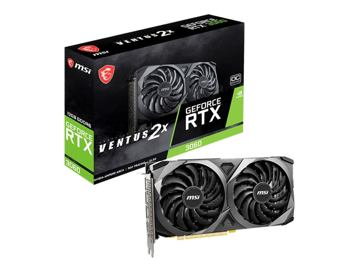 MSI NVIDIA GeForce RTX 3060 Ventus 2x Overclocked Dual-Fan 12GB GDDR6 PCIe 4.0 Graphics Card  - main image