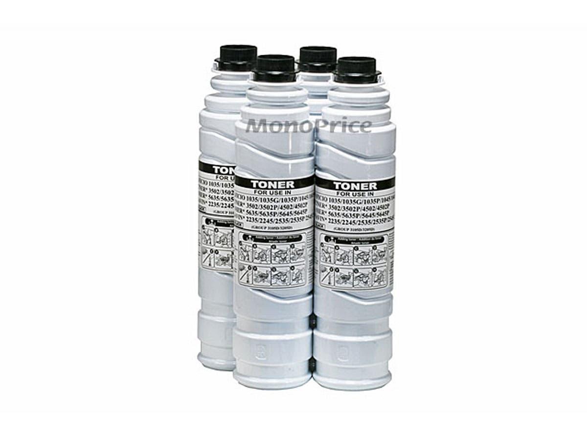 Monoprice 4 pack 550g ctg per ctn Toner 885247, 3105D, 3205D, 888062 for Ricoh Aficio 1035/G/P, 1045/G/P, Gestetner 3502/P, Gestetner 4502/P, Lanier 5635/P, Lanier 5645/P, Savin 2235, 2245-Large-Image-1