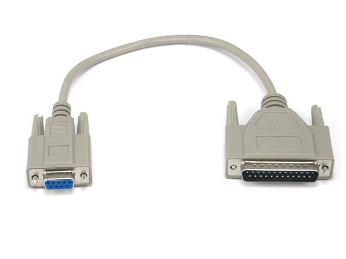 1ft AT Modem DB9F/DB25M Molded Cable