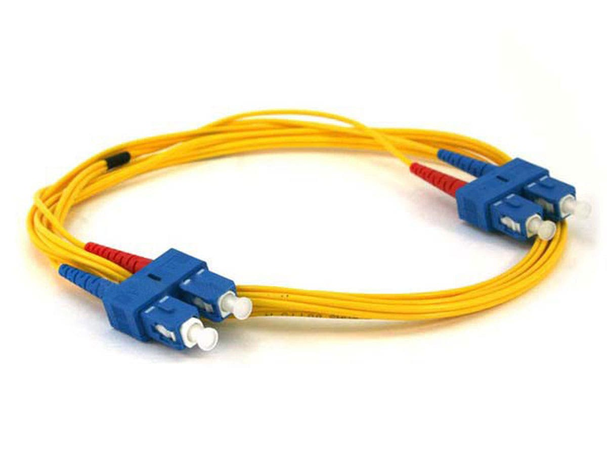 Monoprice Fiber Optic Cable - SC to SC, 9/125 Type, Single Mode, Duplex, Yellow, 2m-Large-Image-1