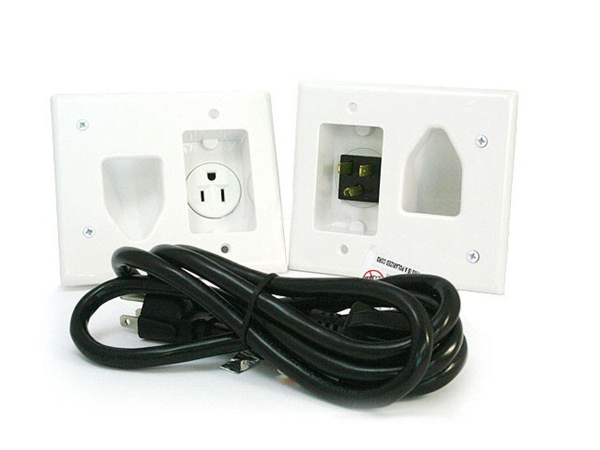 Monoprice Recessed Pro Power Kit W Straight Blade Inlet White Wiring An Old Outlet Large Image
