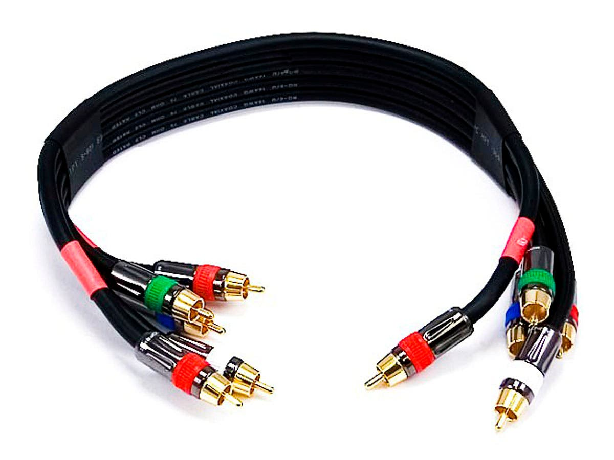 Monoprice 15ft 18awg Cl2 Premium 5 Rca Component Video Audio Cable Network Digital Satellite Tv With A Standard Coaxial