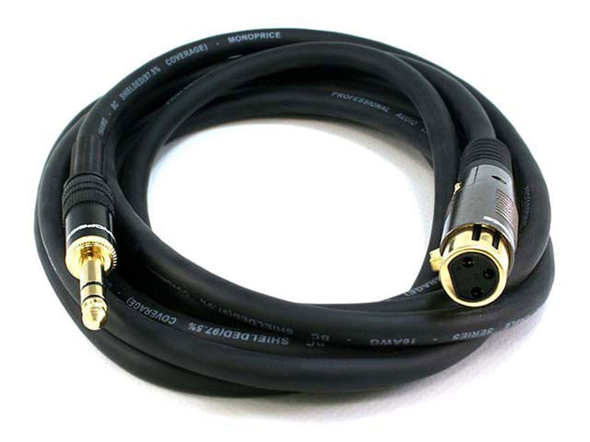 10ft Premier Series XLR Female to 1/4in TRS Male Cable, 16AWG (Gold Plated)