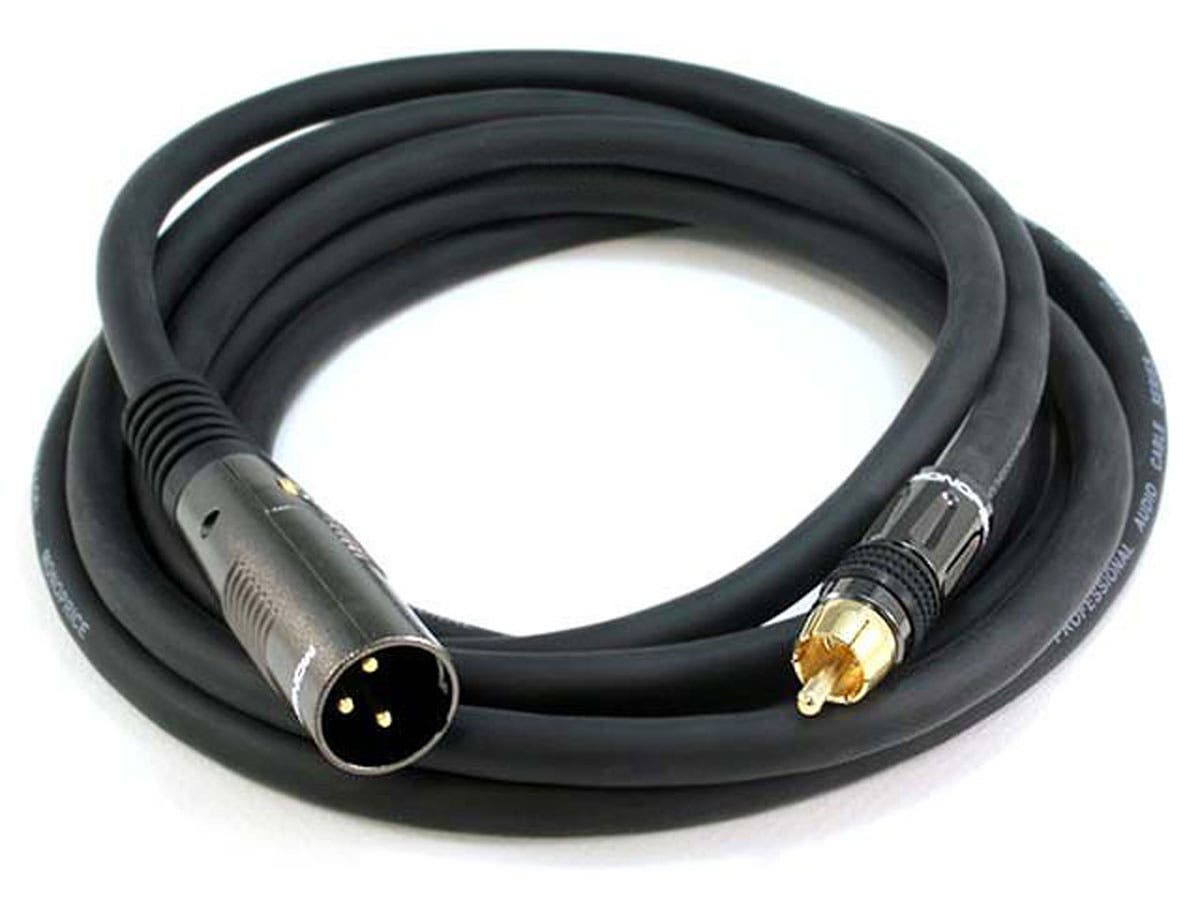 10ft Premier Series XLR Male to RCA Male Cable, 16AWG (Gold Plated)