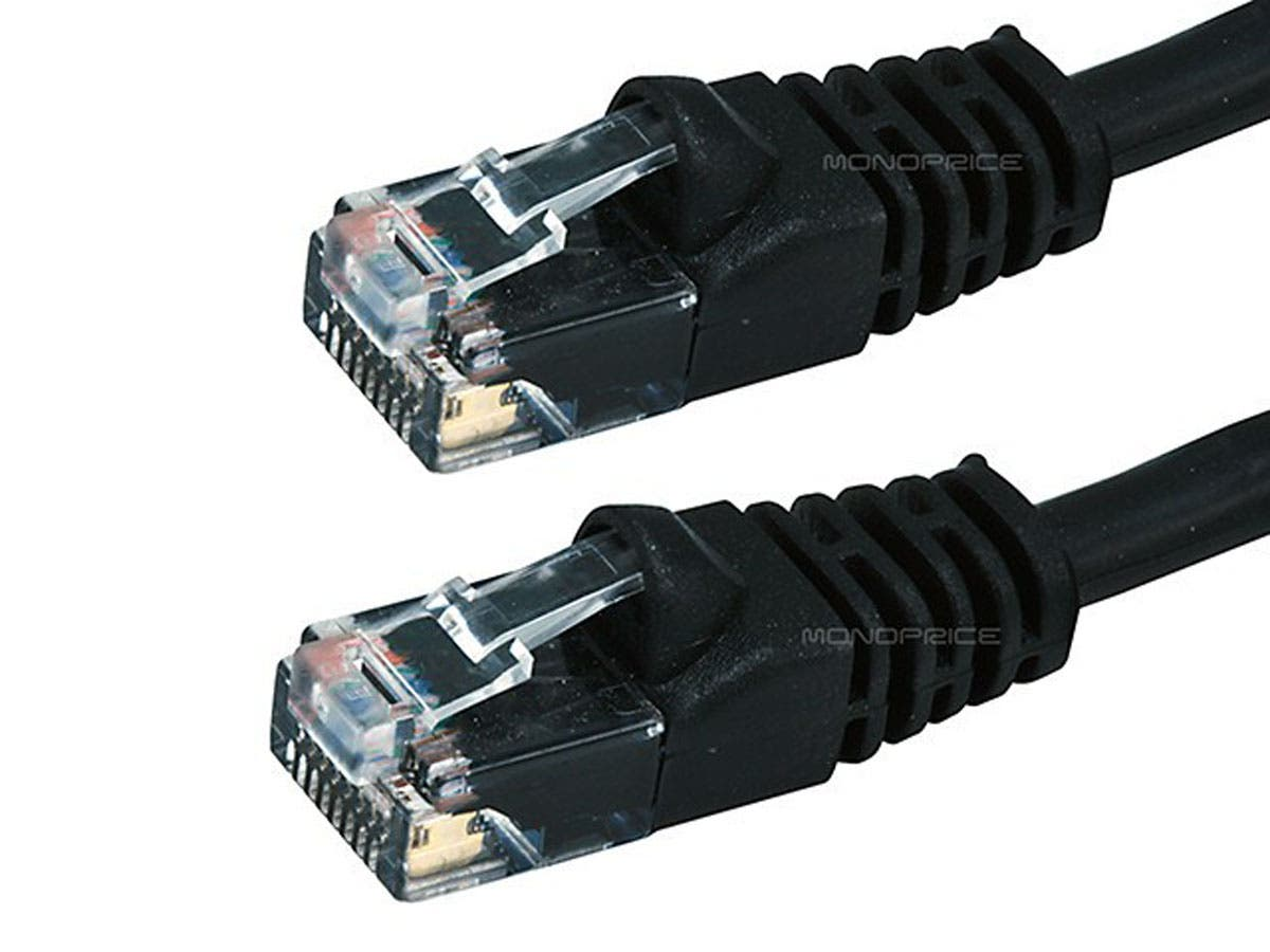 Cat5e Black Ethernet Patch Cable Bootless 15 Foot Part Number