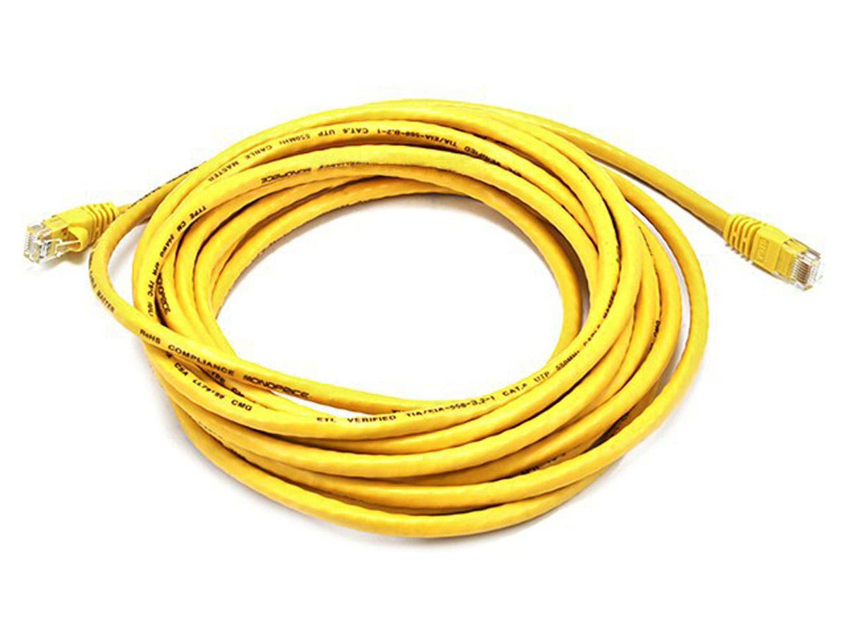 Cat6 24AWG UTP Ethernet Network Patch Cable, 20ft Yellow