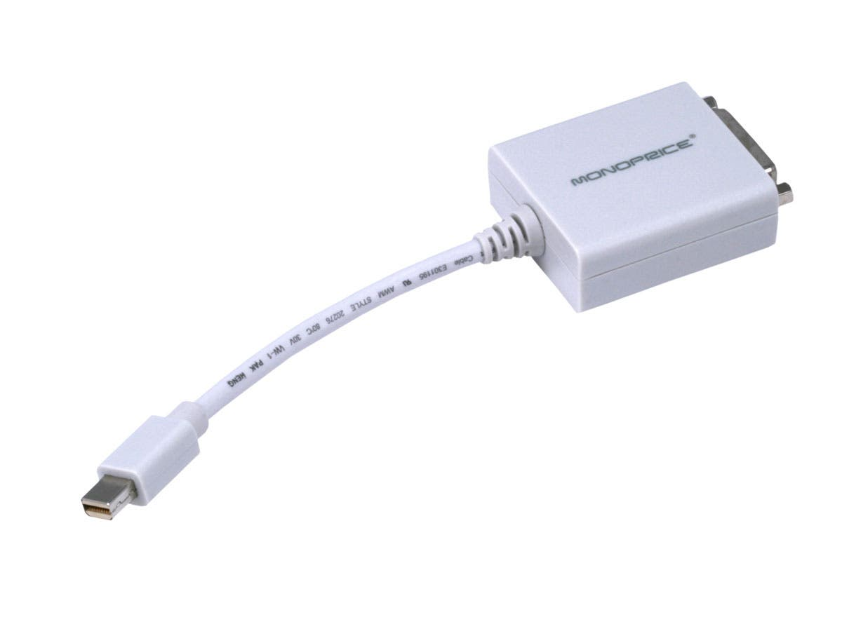 Monoprice Mini DisplayPort 1.1 to DVI Adapter, White-Large-Image-1