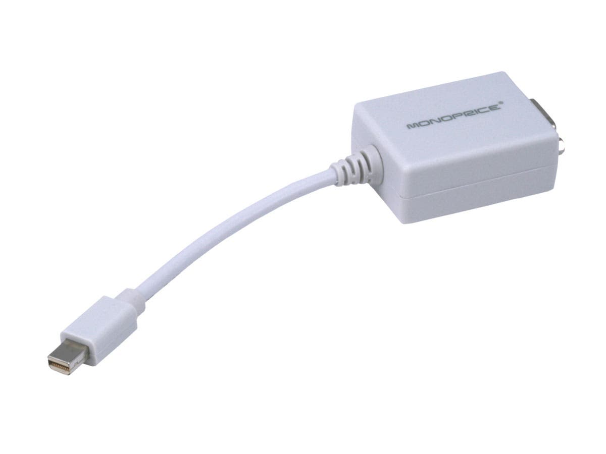 Monoprice Mini DisplayPort 1.1 to VGA Adapter, White-Large-Image-1