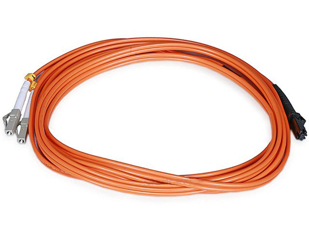 Monoprice Fiber Optic Cable - MTRJ Female to LC, OM1, 62.5/125 Type, Multi Mode, Duplex, Orange, 3m-Large-Image-1