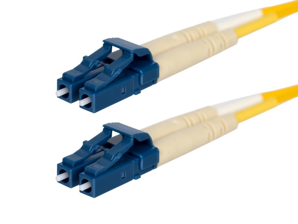 Monoprice Fiber Optic Cable - LC to LC, 9/125 Type, Single Mode, Duplex, Yellow, 1m-Large-Image-1