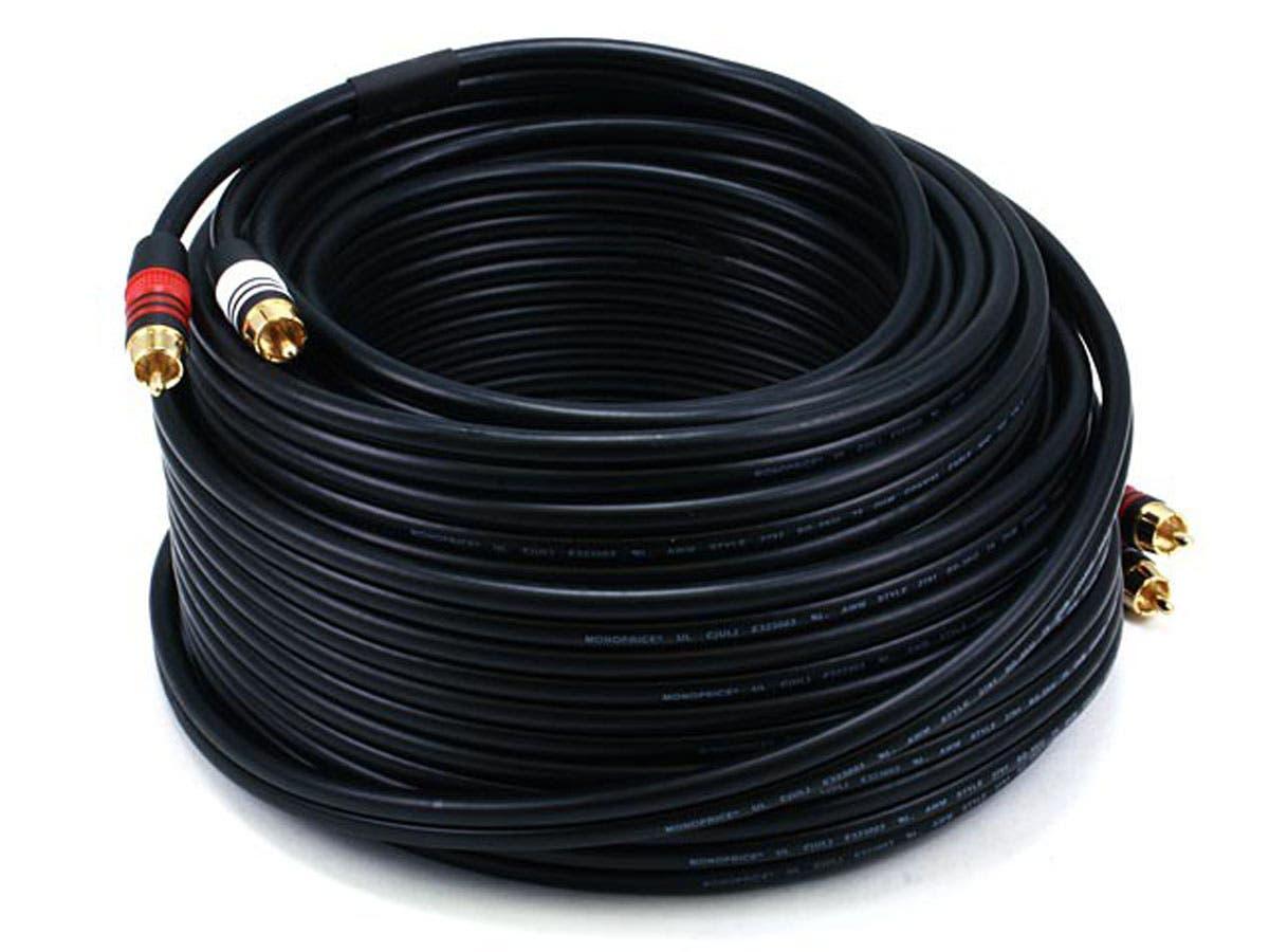 75ft Premium 2 RCA Plug/2 RCA Plug M/M 22AWG Cable - Black
