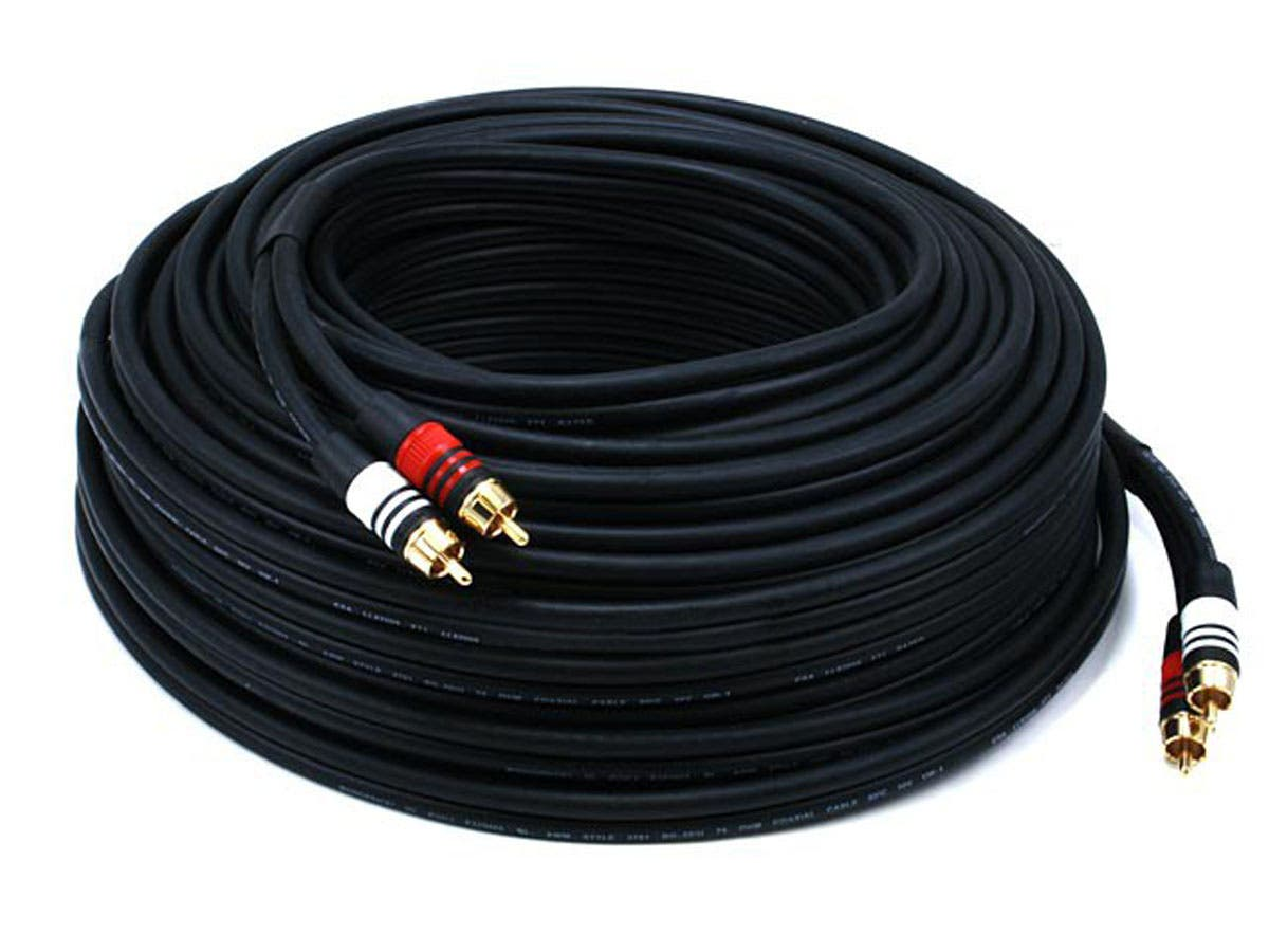 Monoprice 100ft Premium 2 Rca Plug M 22awg Cable Wiring A Black To Gold