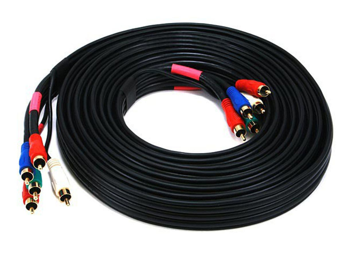 15ft 22AWG 5-RCA Component Video/Audio Coaxial Cable (RG-59/U) - Black