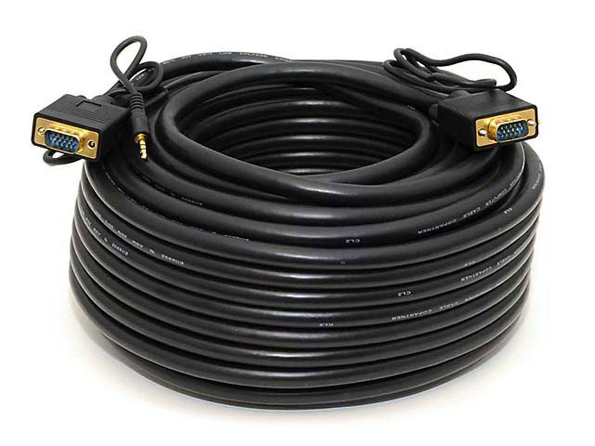 100ft Super VGA HD15 M/M Cable w/ Stereo Audio and Triple Shielding