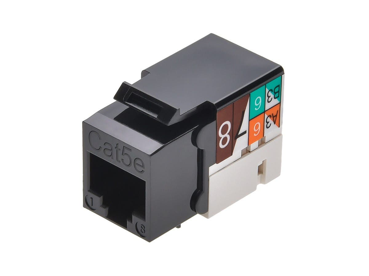 Monoprice Cat5e Punch Down Keystone Jack Black Rj45 Wiring Diagram Get Free Image About Small 4