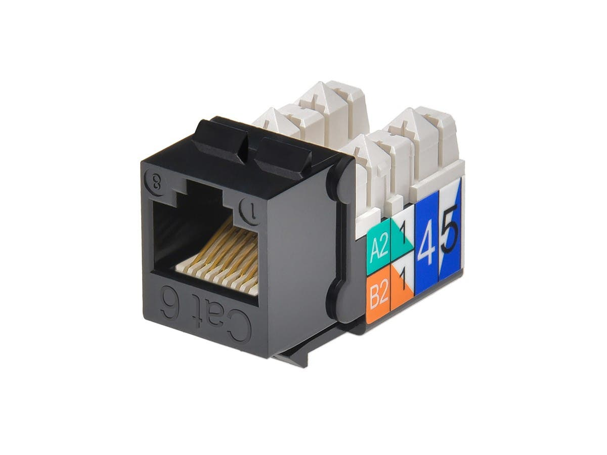 Cat6 Punch Down Keystone Jack - Black