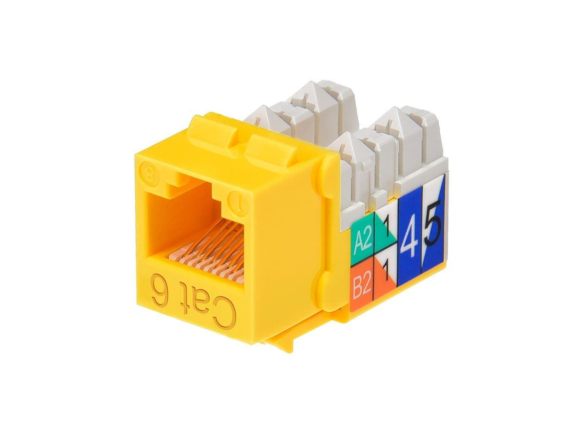Cat6 Punch Down Keystone Jack - Yellow