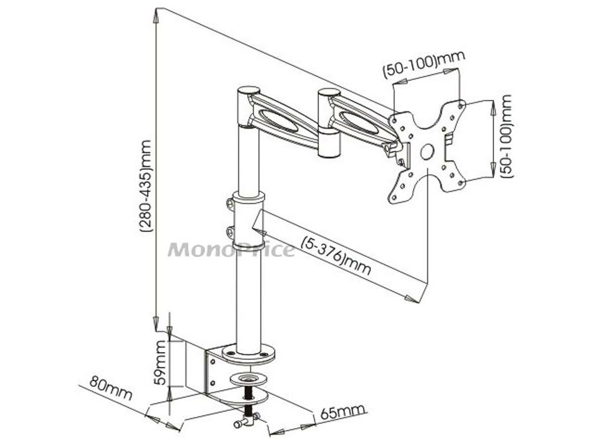 Monoprice 3 Way Adjustable Tilting Desk Mount Bracket For