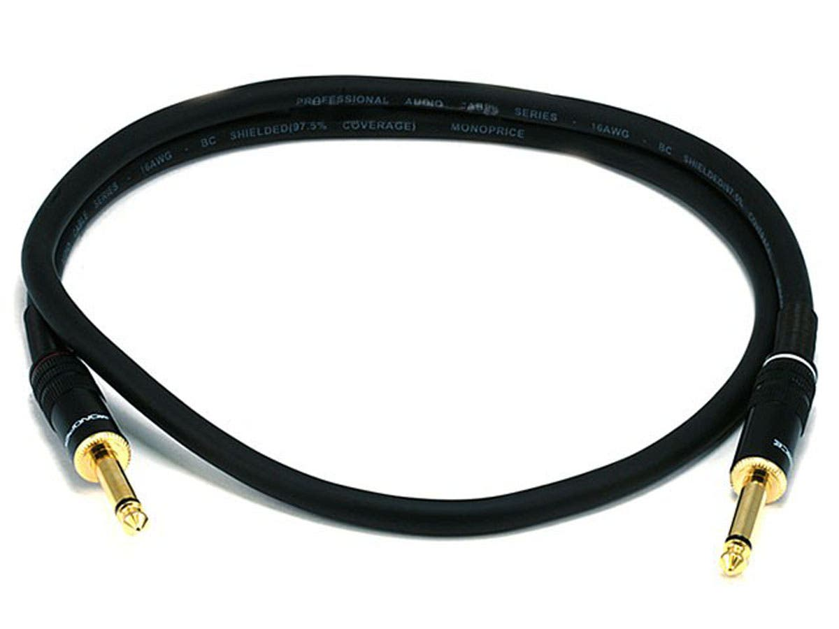 3ft Premier Series 1/4in TS Male to Male Audio Cable, 16AWG (Gold Plated)