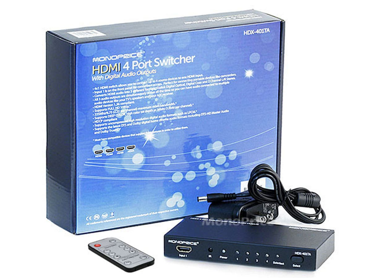 4x1 Hdmi Switcher W Toslink Digital Coaxial Port Vga Switch Monoprice Blackbird 14 Hdcp With And Analog Audio Extractor 1080p