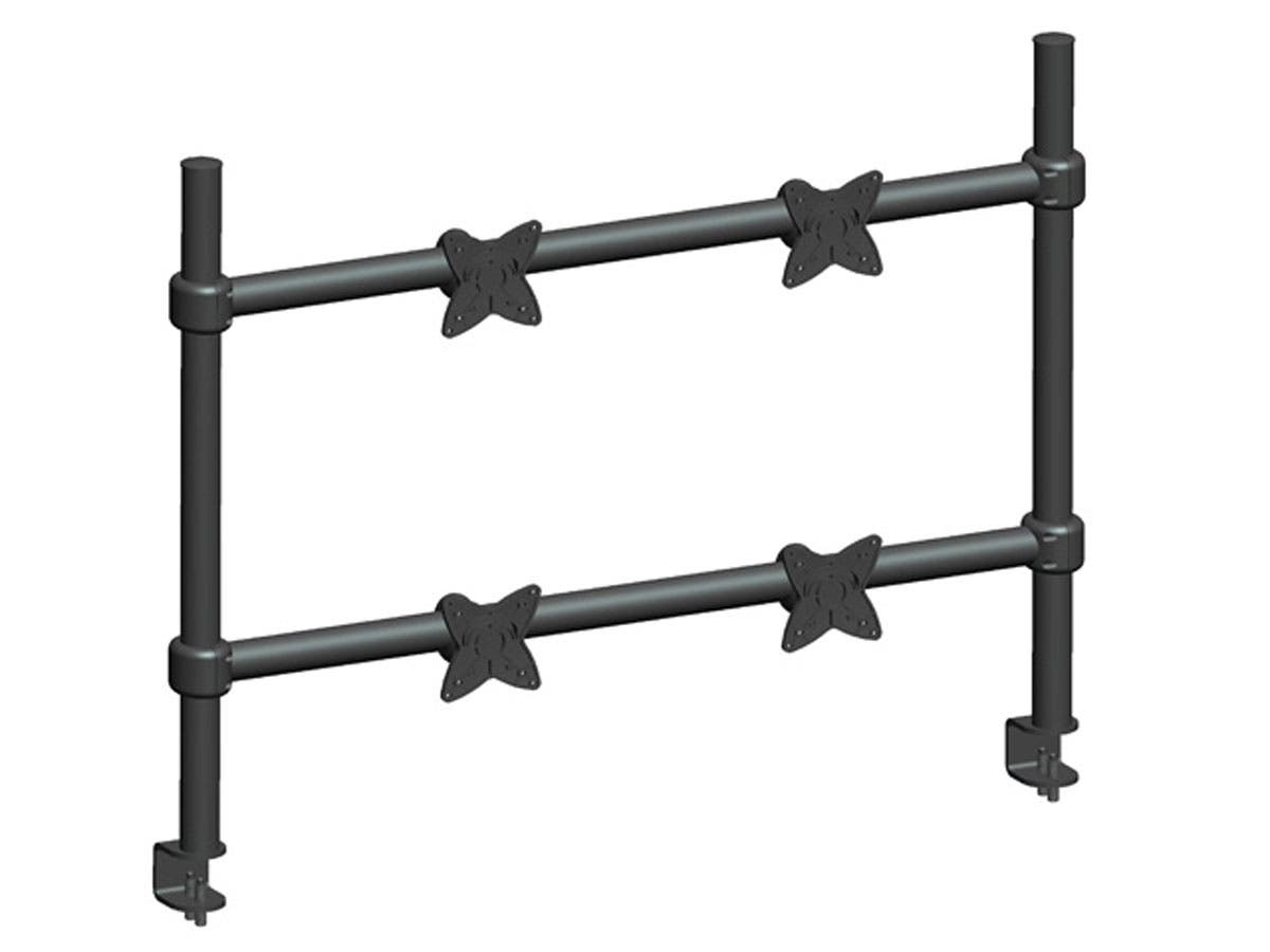 Adjustable Tilting QUAD Desk Mount Bracket for 10~23in Monitors up to 33 lbs, Black
