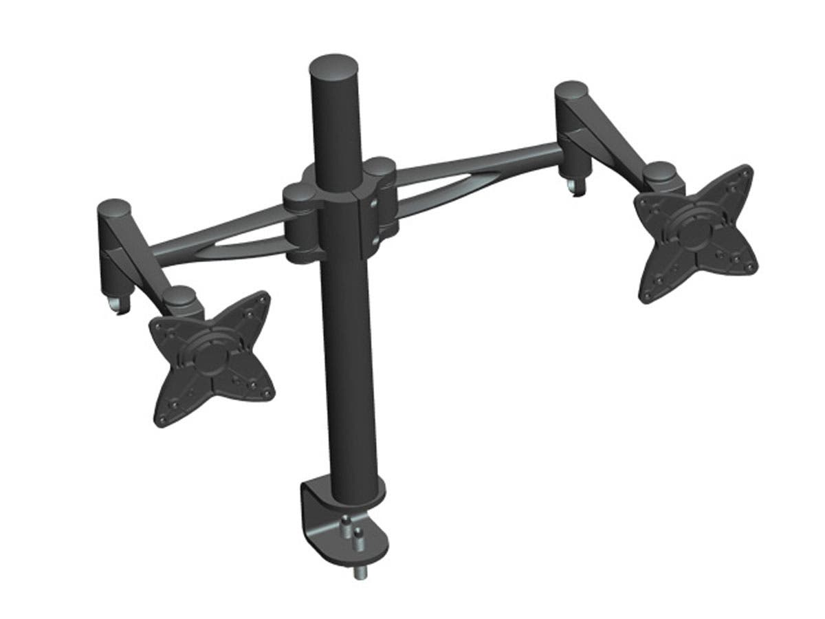 3-Way Adjustable Tilting DUAL Desk Mount Bracket for 10~23in Monitors up to 33 lbs, Black