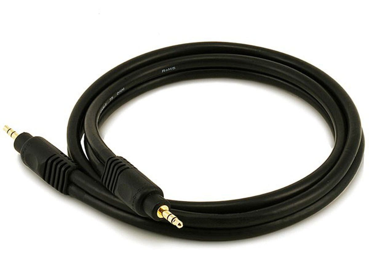 Monoprice 3ft Premium 3.5mm Stereo Male to 3.5mm Stereo Male 22AWG Cable (Gold Plated) - Black-Large-Image-1