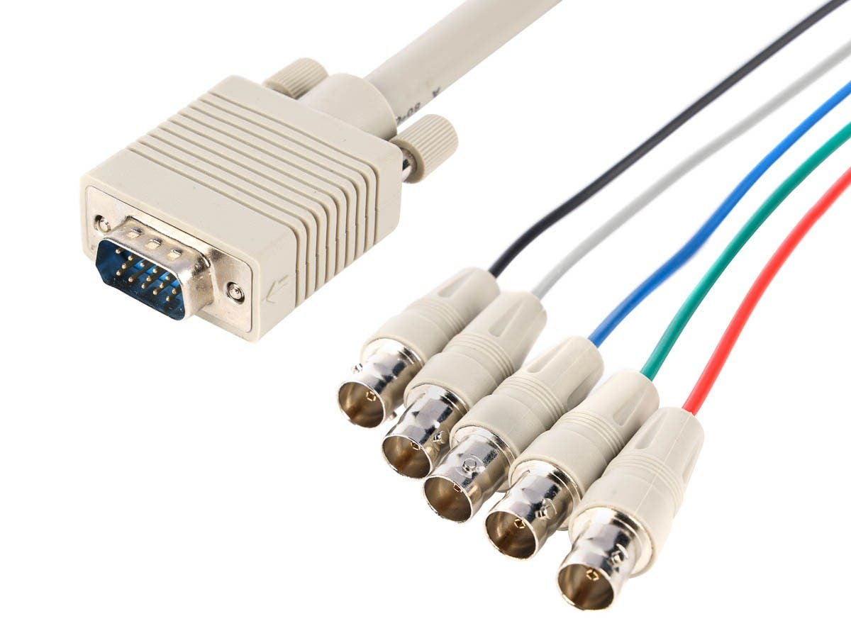 Monoprice VGA HD15 Male to 5x BNC Female Adapter Cable - 1ft-Large-Image