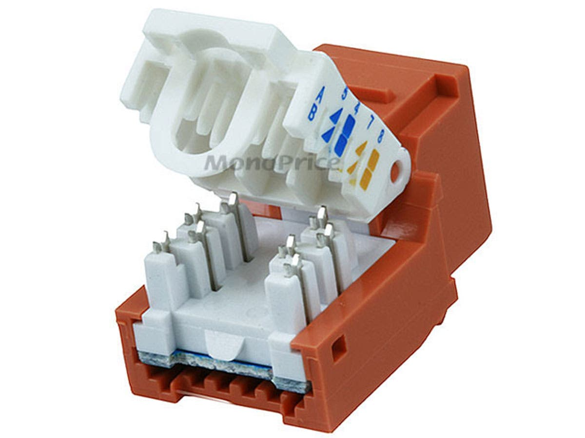 Monoprice Cat5e Rj 45 Toolless Keystone Jack Orange Uverse Wiring Small Image 2