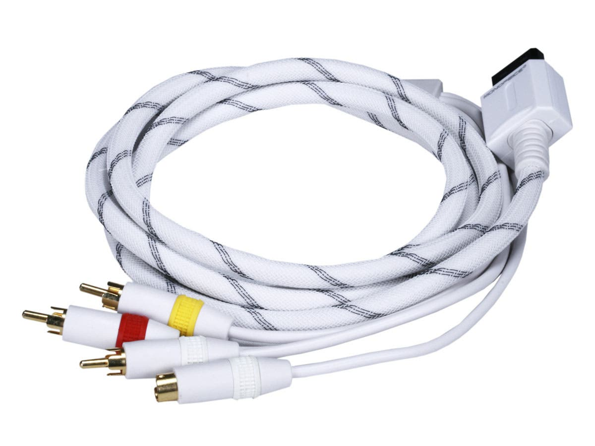 Monoprice AV Cable w/ Composite (Yellow RCA)/S-Video and Stereo Audio (Red/White) for Wii & Wii U- Net Jacket and Gold Plated-Large-Image-1