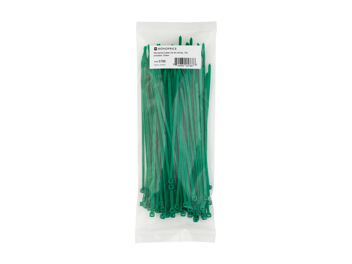 Cable Tie 8 in 40 lbs, 100 pcs/pack, Green