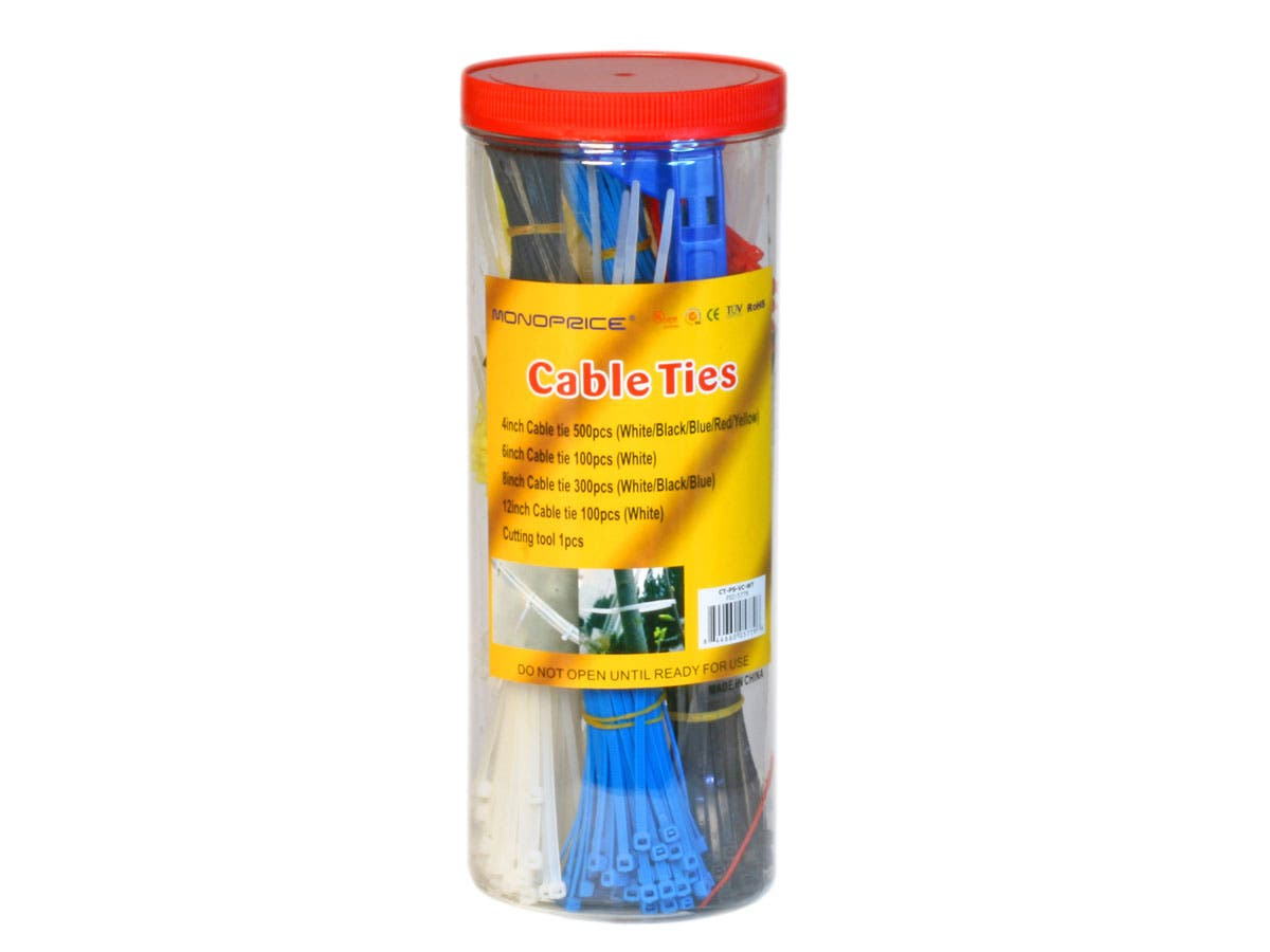 Monoprice Cable Tie Set, 1000 pcs/pack, Various Colors with Cutting Tool-Large-Image-1