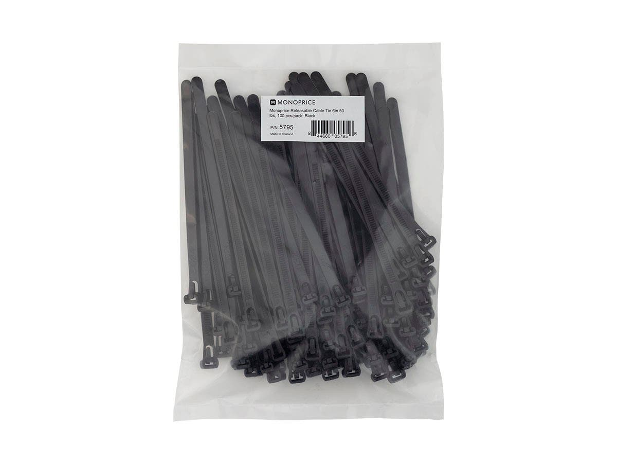 Monoprice Releasable Cable Tie 6in 50 lbs, 100 pcs/pack, Black-Large-Image-1