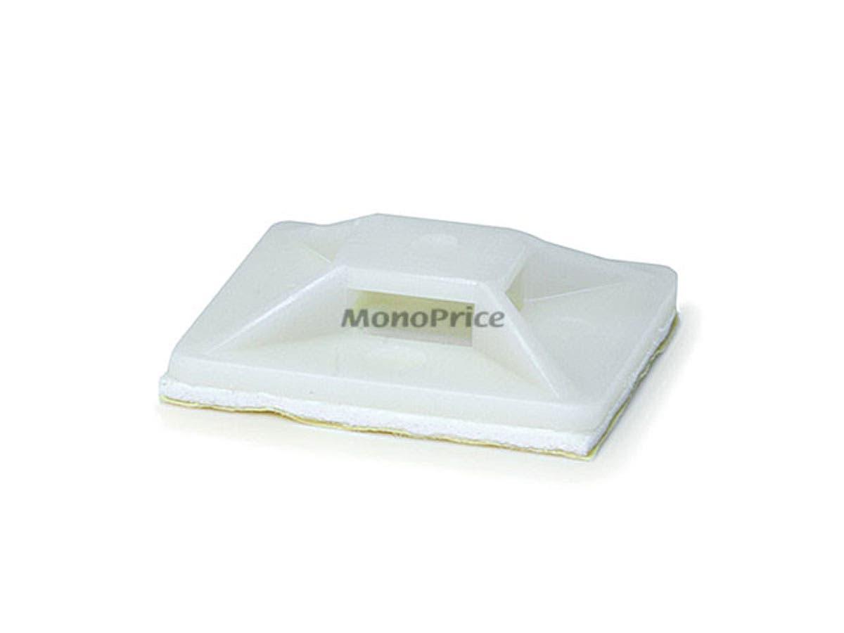 Monoprice Cable Tie Mounts 30x30 mm, 100 pcs/pack, White-Large-Image-1
