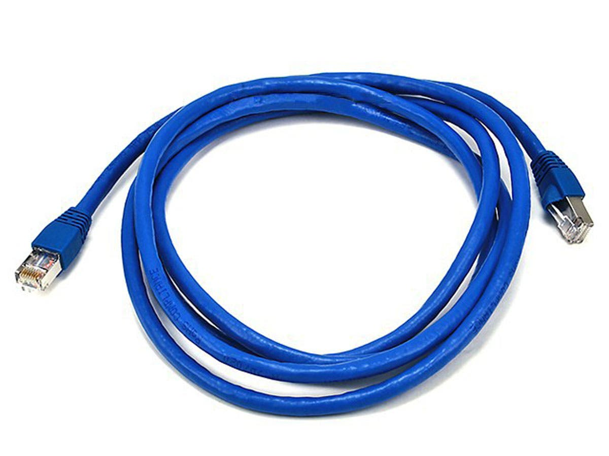 Monoprice Cat6A Ethernet Patch Cable - Snagless RJ45, Stranded, 550Mhz, STP, Pure Bare Copper Wire, 26AWG, 7ft, Blue-Large-Image-1