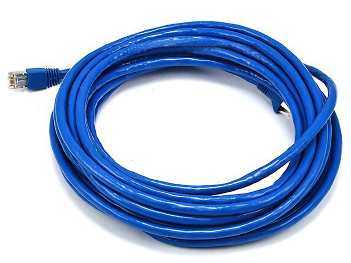 Monoprice Cat6A Ethernet Patch Cable - Snagless RJ45, Stranded, 550Mhz, STP, Pure Bare Copper Wire, 10G, 26AWG, 25ft, Blue-Large-Image-1