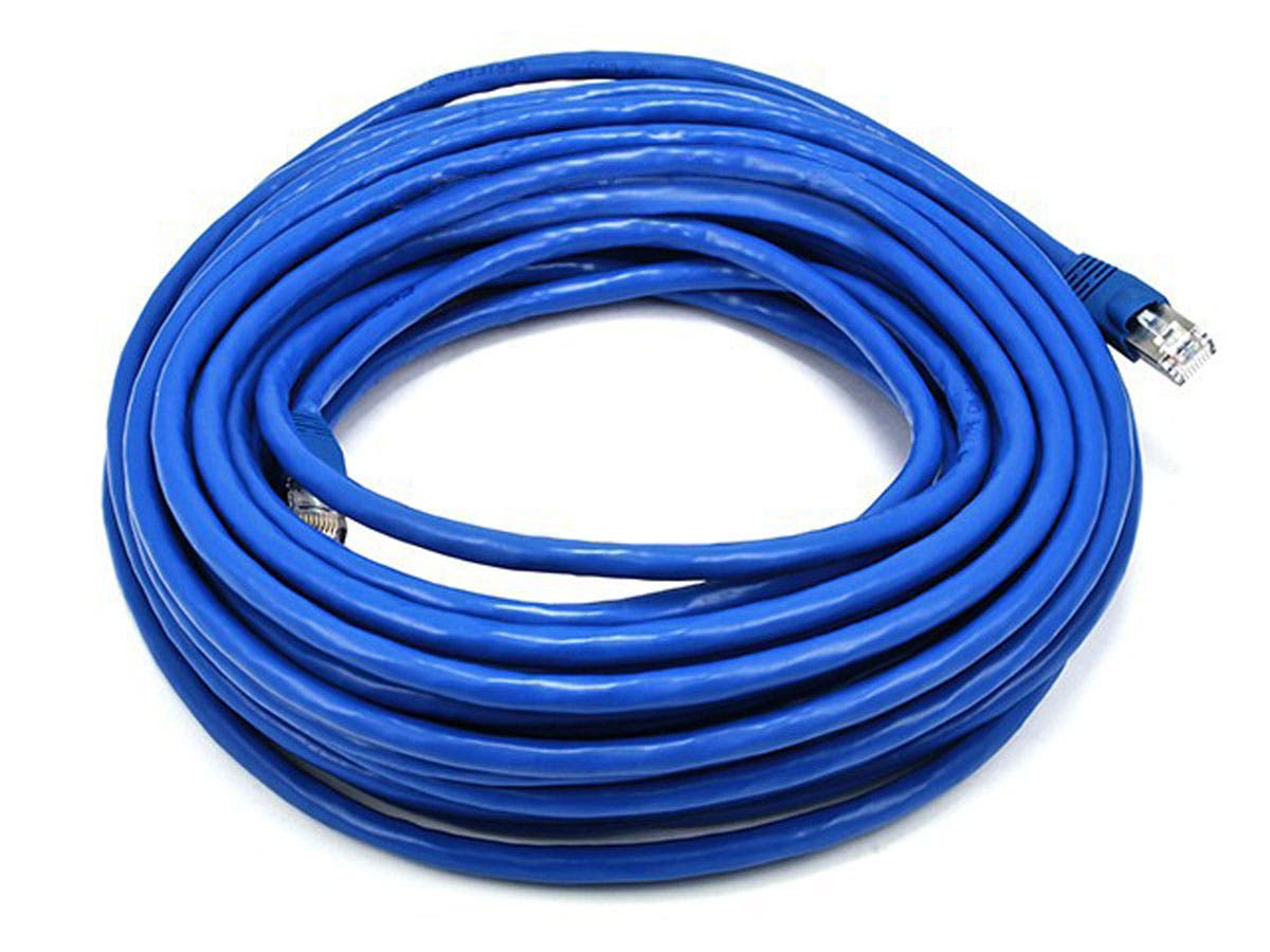 Monoprice Cat6A Ethernet Patch Cable - Snagless RJ45, Stranded, 550Mhz, STP, Pure Bare Copper Wire, 10G, 26AWG, 50ft, Blue - main image