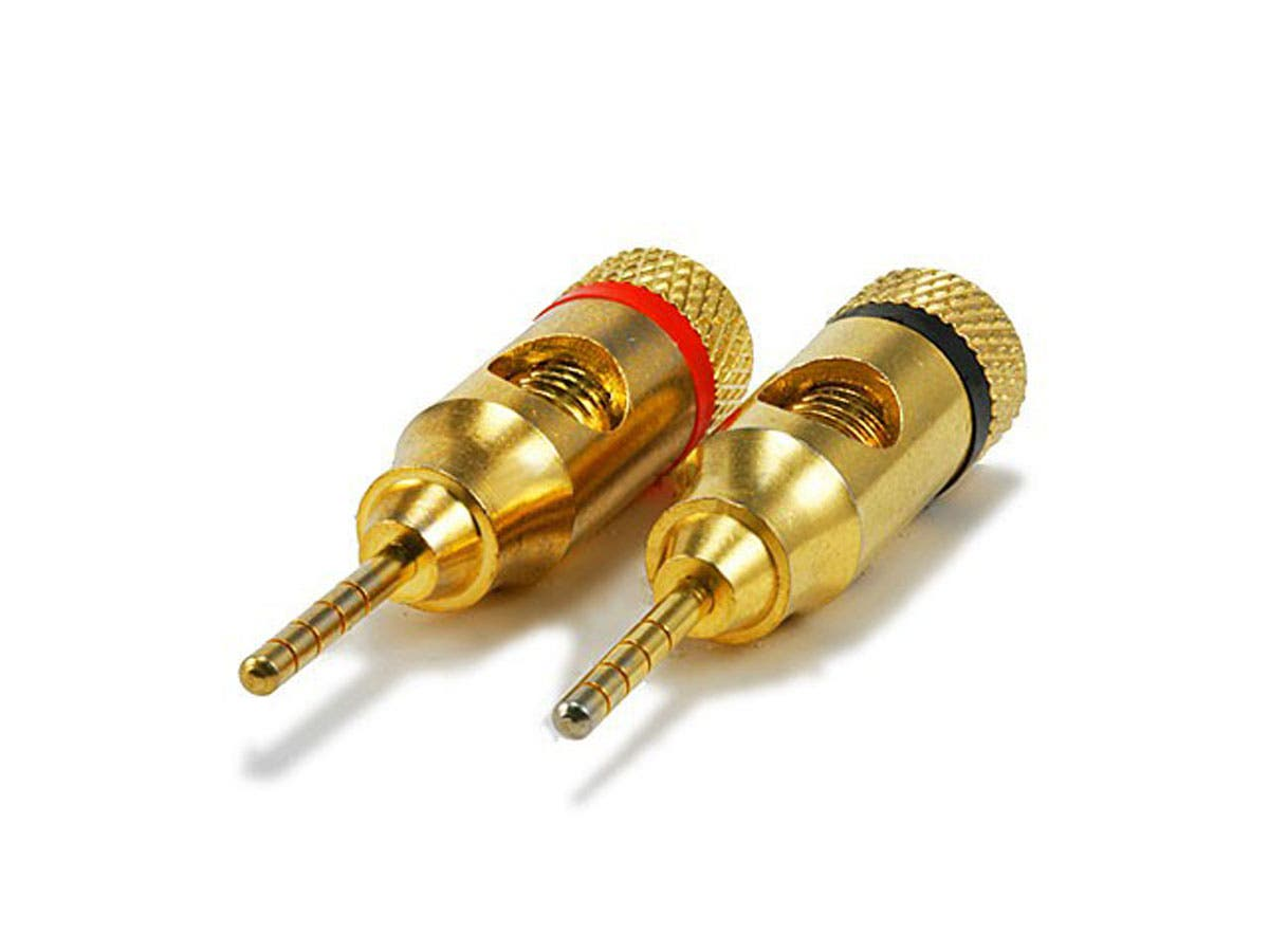 Monoprice 1 PAIR OF High-Quality Gold Plated Speaker Pin Plugs, Pin Screw Type-Large-Image-1