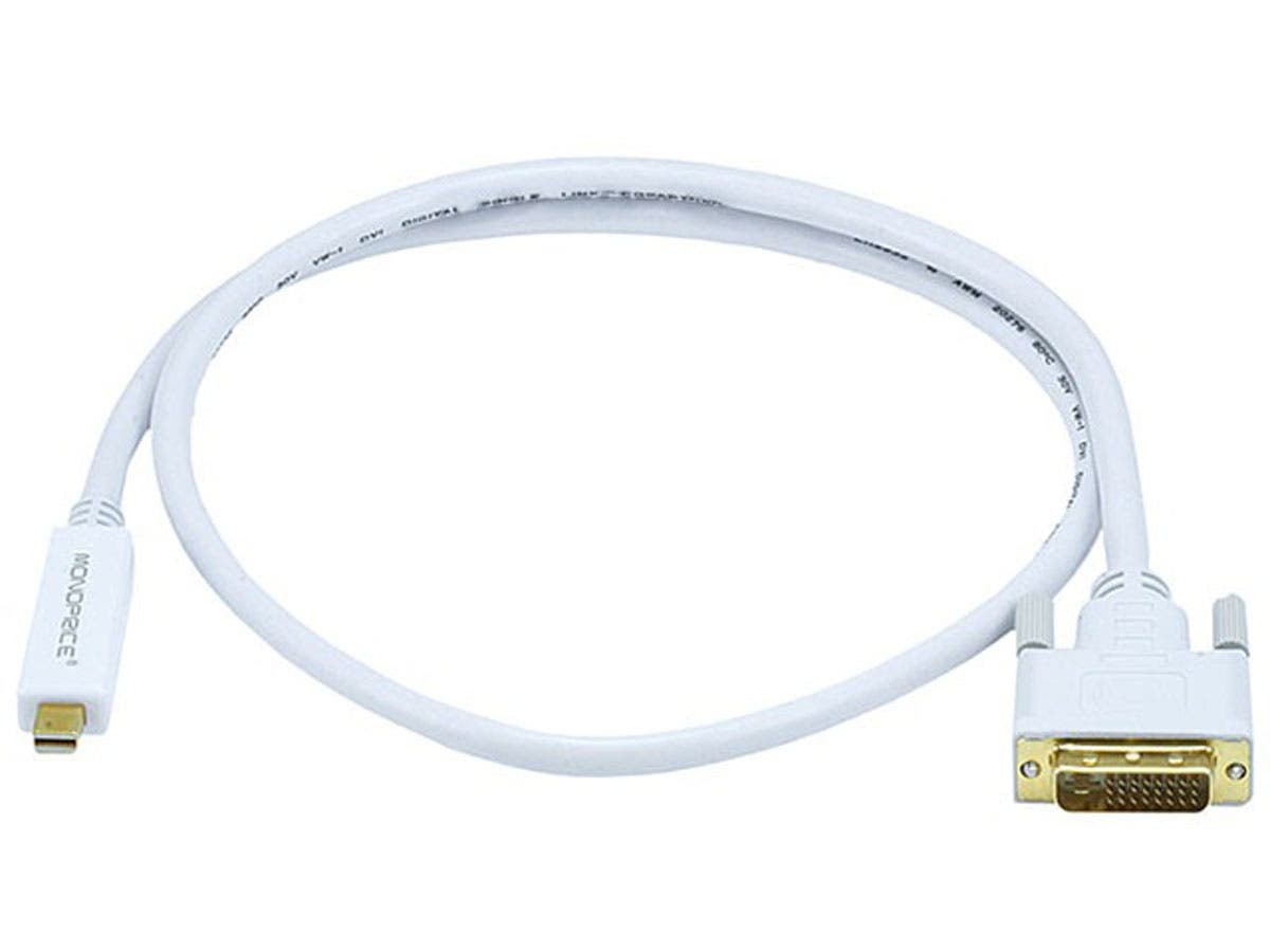3ft 32AWG Mini DisplayPort to DVI Cable - White